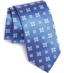 men's canali medallion silk tie, size one size - blue