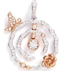 'lucky charm' diamond 18k gold pendant