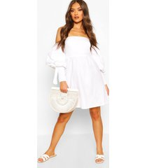 linen off shoulder shirred sleeve mini dress, white