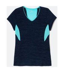 camiseta manga curta poliamida liso fit energy recortes marinho com recortes turquise ref   get over   azul   g