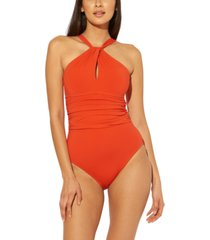 bleu by rod beattie high-neck keyhole one-piece swimsuit women's swimsuit
