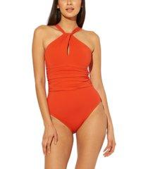 bleu by rod beattie high-neck keyhole one-piece swimsuit women's swimsuit