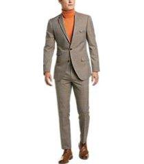 paisley & gray slim fit suit separates coat tan & blue plaid
