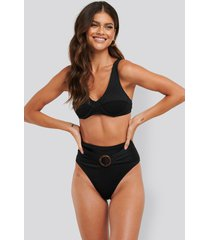 na-kd swimwear ribbed high waist buckle bikini panty - black