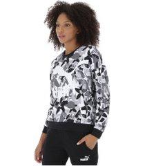 blusão de moletom puma classics logo crew - feminino - preto/branco