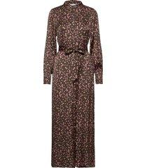 long dress in moon print w. collar maxiklänning festklänning brun coster copenhagen