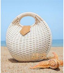 new girl straw bag street fashion handbag round rattan latest women shell bag ca