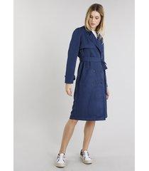 casaco feminino trench coat com faixa e botões azul marinho