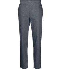 fabiana filippi high-rise cropped chambray trousers - blue