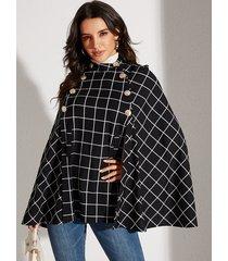yoins black button design grid round neck long sleeves cape coat