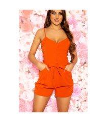 sexy jumpsuit met knopen en riem oranje