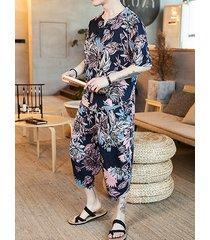 incerun traje de moda holgado chino de vacaciones con estampado tropical para hombre
