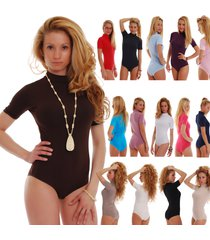 women cotton bodysuit turtle mock neck short sleeve bikini 1435 leotard body top