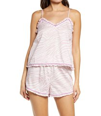 women's reverie rosalyn organic cotton camisole short pajamas, size large - purple
