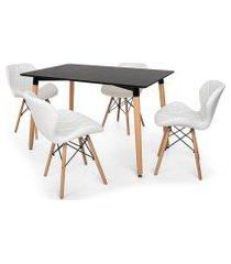 kit mesa jantar eiffel 120x80 preta + 04 cadeiras slim - branca