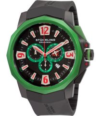 stuhrling stainless steel black pvd case on black high grade silicon rubber strap, black dial, green bezel, with silver tone, red, and green accents