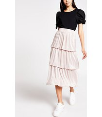 river island womens pink pleated jersey frill midi skirt
