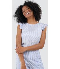 blusa estampada a rayas color azul, talla xs
