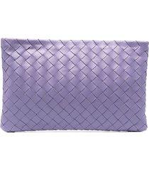 bottega veneta intrecciato woven pouch - purple