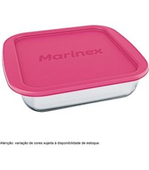 assadeira marinex com tampa rosa quadrada media 622225 - unico - feminino - dafiti
