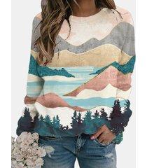 camicetta o-collo manica lunga stampata paesaggio dipinto