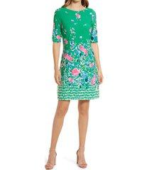 women's eliza j floral border print dress, size 14 - green