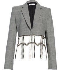 women's area crystal fringe plaid crop blazer, size 8 - grey