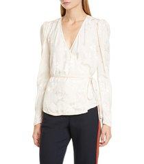 women's veronica beard eden floral jacquard wrap blouse, size 4 - ivory