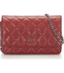 chanel cc timeless lambskin leather wallet on chain red sz:
