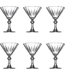 jogo de taças lapidados em vidro para martini pasabahce diamond 6 peças 238ml
