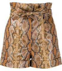 twin-set snakeskin print tied shorts - brown