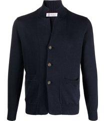 brunello cucinelli navy blue cotton cardigan