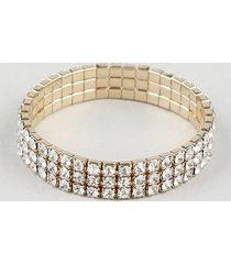 pulseira feminina com strass dourada