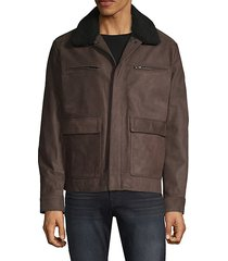 faux fur-collar leather jacket