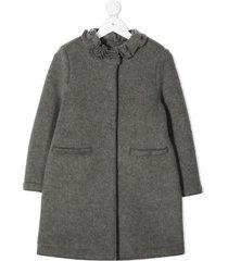 il gufo ruffled-neck midi coat - grey