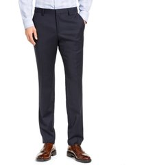 hugo hugo boss men's slim-fit navy blue stripe suit pants