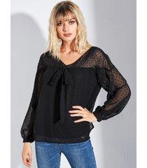 yoins blusa con mangas de linterna con cuello en v y lunares negros
