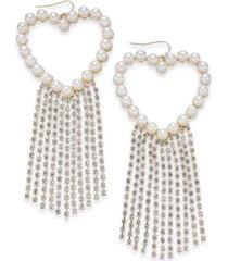 thalia sodi gold imitation pearl heart & crystal fringe drop earrings, created for macy's