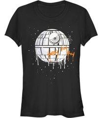 fifth sun star wars women's death star orange ship drip short sleeve tee shirt