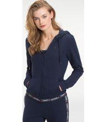 tommy hilfiger women's logo tape lounge hoodie navy blazer - m