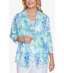 alfred dunner petite tropical leaves layered-look necklace top