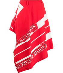 comme des garçons homme plus asymmetric logo print trouser skirt - red