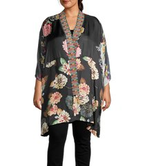 johnny was women's plus payden reversible kimono - multi blue - size 1x (14-16)