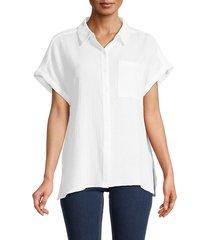 calvin klein women's textured short-sleeve shirt - soft white - size xl