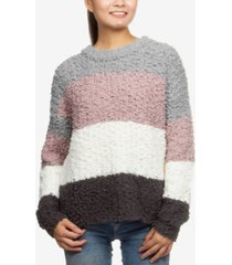 hippie rose juniors' colorblock plush pullover sweater
