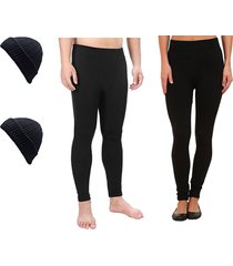 combo invierno legging termico mujer + legging termico hombre + 2 gorros lana - negro