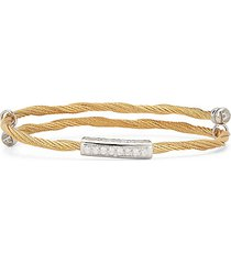 18k yellow gold, stainless steel & diamond bangle bracelet