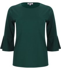 camiseta unicolor mujer manga campana color verde, talla xs