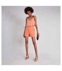 lez a lez - shorts cintura alta bolsos laranja japha