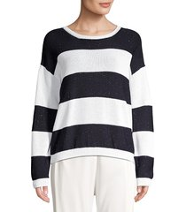 peserico women's knit colorblock sweater - white navy - size 54 (18)